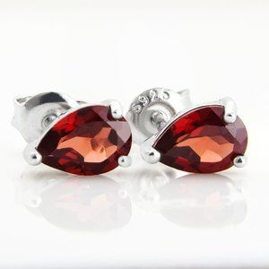 Genuine Natural Garnet Sterling Silver Earrings